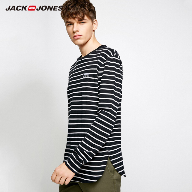MLMR Men's Cotton Stripe T-shirt Embroidery Long Sleeve T shirts 2019 JackJones New Brand Tshirt Men jackjones|218302505