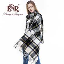 2018 Oversized Pashmina Tassels Winter Female Scarf Women Plaid Blanket Wool Scarfs Cashmere Women Foulard Femme Shawls Wraps