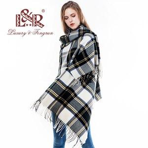 Image 5 - 2018 Oversized Pashmina Tassels Winter Female Scarf Women Plaid Blanket Wool Scarfs Cashmere Women Foulard Femme Shawls Wraps