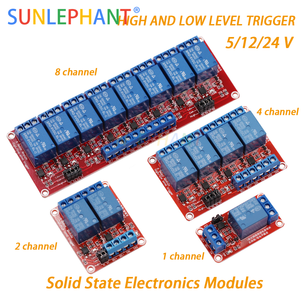 1 2 4 8 Channel 5V 12V 24V Relay Module Board Shield with Optocoupler Support High and Low Level Trigger for Arduno