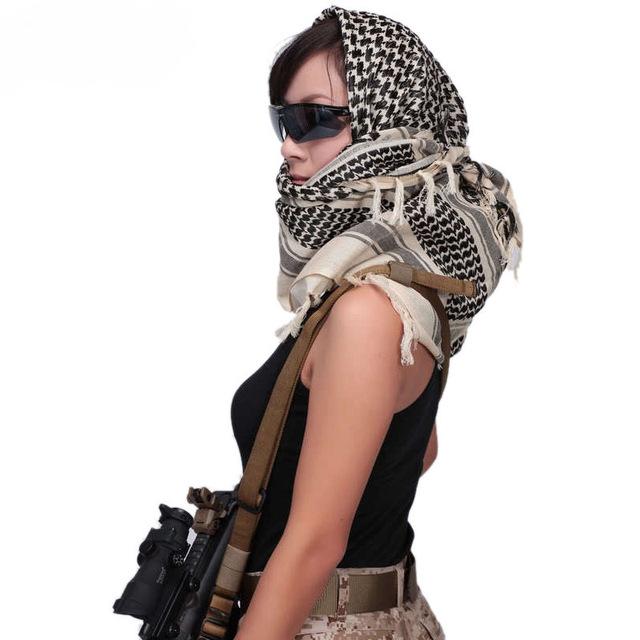 Men Winter Military Windproof Scarf Muslim Hijab Shemagh Tactical Shawl Arabic Keffiyeh 100% Cotton Fashion Women Scarves