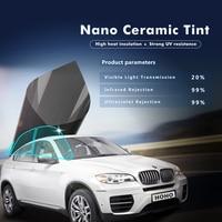 1.52x10m Car Window Film 20%VLT Nano Ceramic Solar Tint Car Side Rear Window Solar Tint Anti UV self adhesive stickers