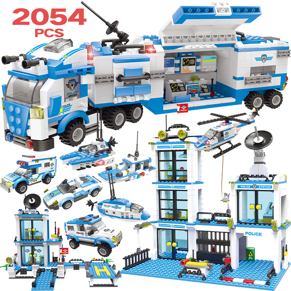 2054pcs Police Station Prison Figures Building Block Kits Compatible City Swat Bricks Toys for Boys Truck