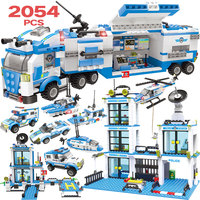 2054 adet polis istasyonu cezaevi rakamlar yapı taşı kitleri uyumlu şehir Swat tuğla oyuncaklar Boys için kamyon helikopter