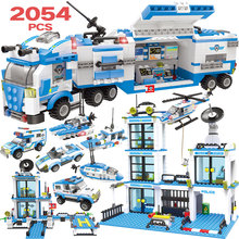 2054pcs Police Station Prison Figures Building Block Kits Compatible Legoingly City Swat Bricks Toys for Boys Truck Helicopter 2054pcs police station prison figures building block kits compatible city swat bricks toys for boys truck helicopter