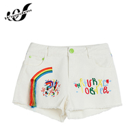 WENEDYM Summer Jeans High Waist Clothing Tassel White Slim Jeans Casual Shorts Female Embroidery Crafts Rainbow