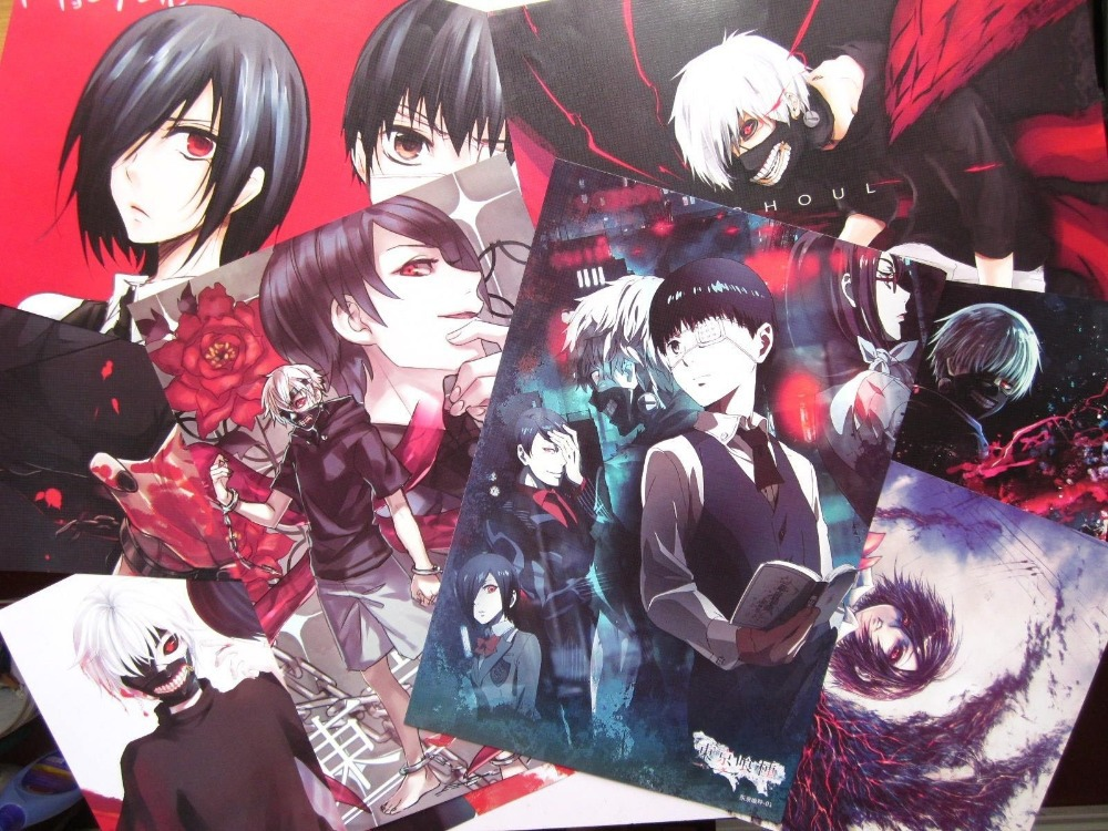 Hot Anime Tokyo Ghoul Kaneki Ken Cosplay 8PCS A3 Size COOL Posters Print Set B In Wall Stickers From Home Garden On Aliexpress