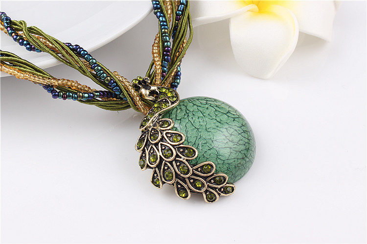 ZOSHI Blue natural crystal stone pendant necklace fashion peacock pendant necklace for women jewelry 21