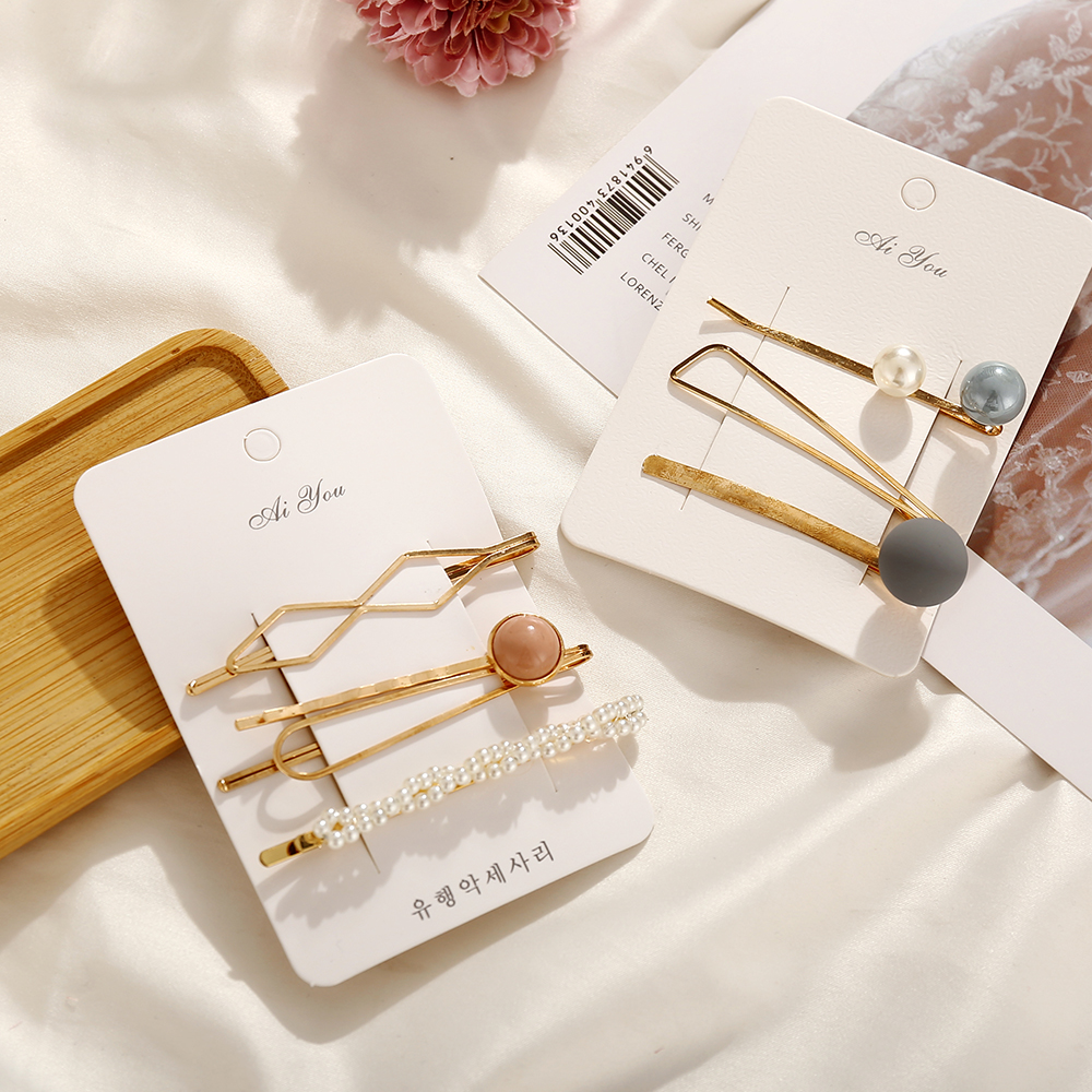 MAA-OE 2019 Fashion Simulated-pearl Color Stone Hair Clips For Women Girls New Korea Hairpins Set Female Hairwear Jewelry(China)
