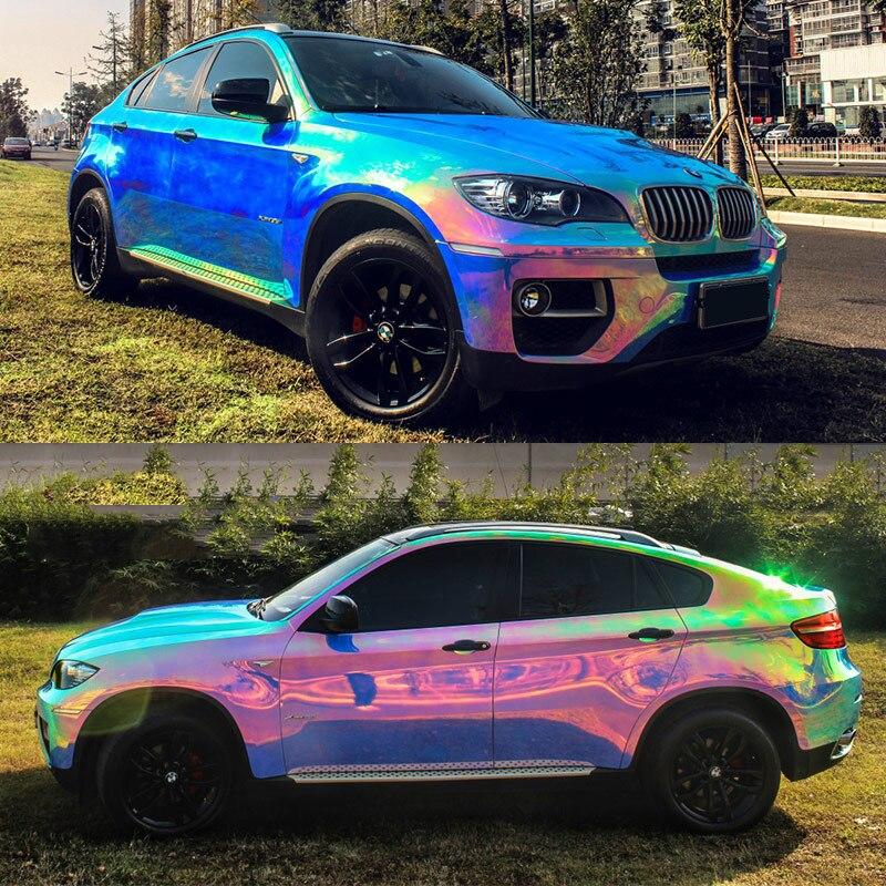 OPLARE 1.35*20 м глянцевый красочные Радуга хром Цвет изменился автомобиль упаковка виниловая пленка с воздуха пузырь бесплатно сделать лучший клей