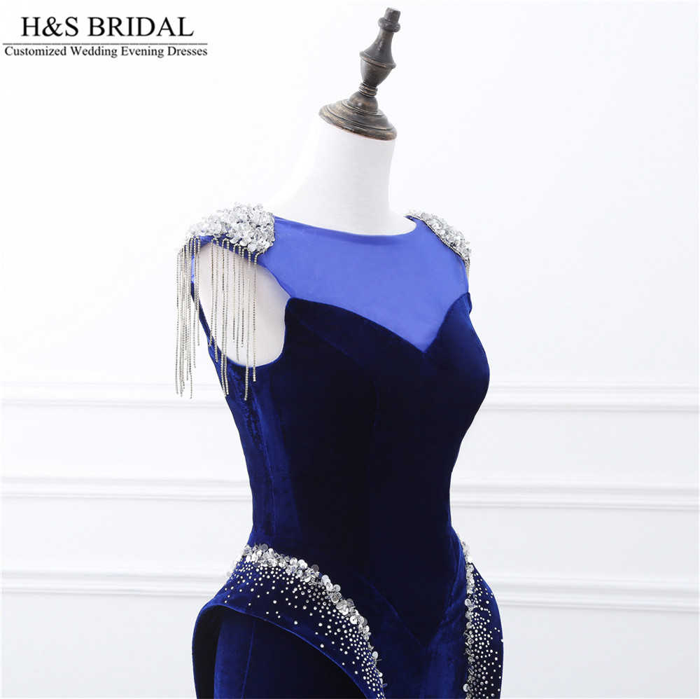 Dark Blue Mermaid Evening Dress Long Sheer Neck Formal Evening Dresses Sexy Beaded Evening Party Backless Lace Up Prom Dresses