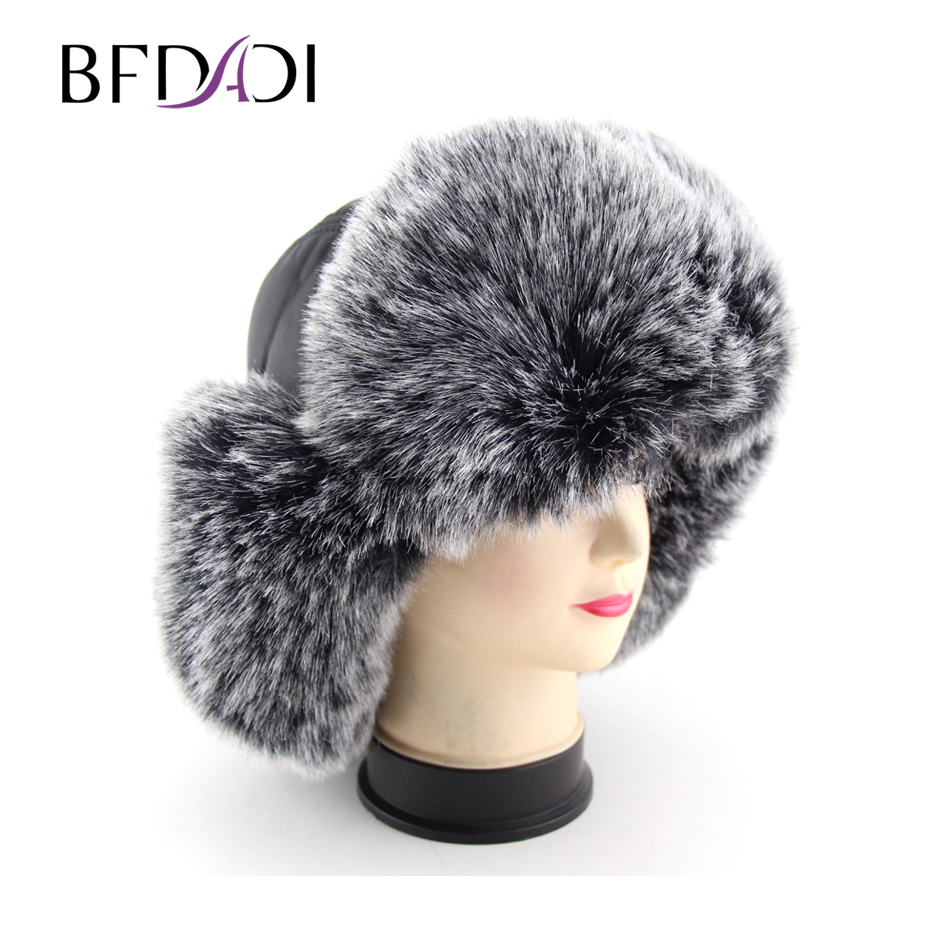 3227ea63f US $22.29 50% OFF|BFDADI 2019 Russian faux leather bomber hat men winter  hats with earmuffs trapper earflap cap man hats Free Shipping-in Men's  Bomber ...
