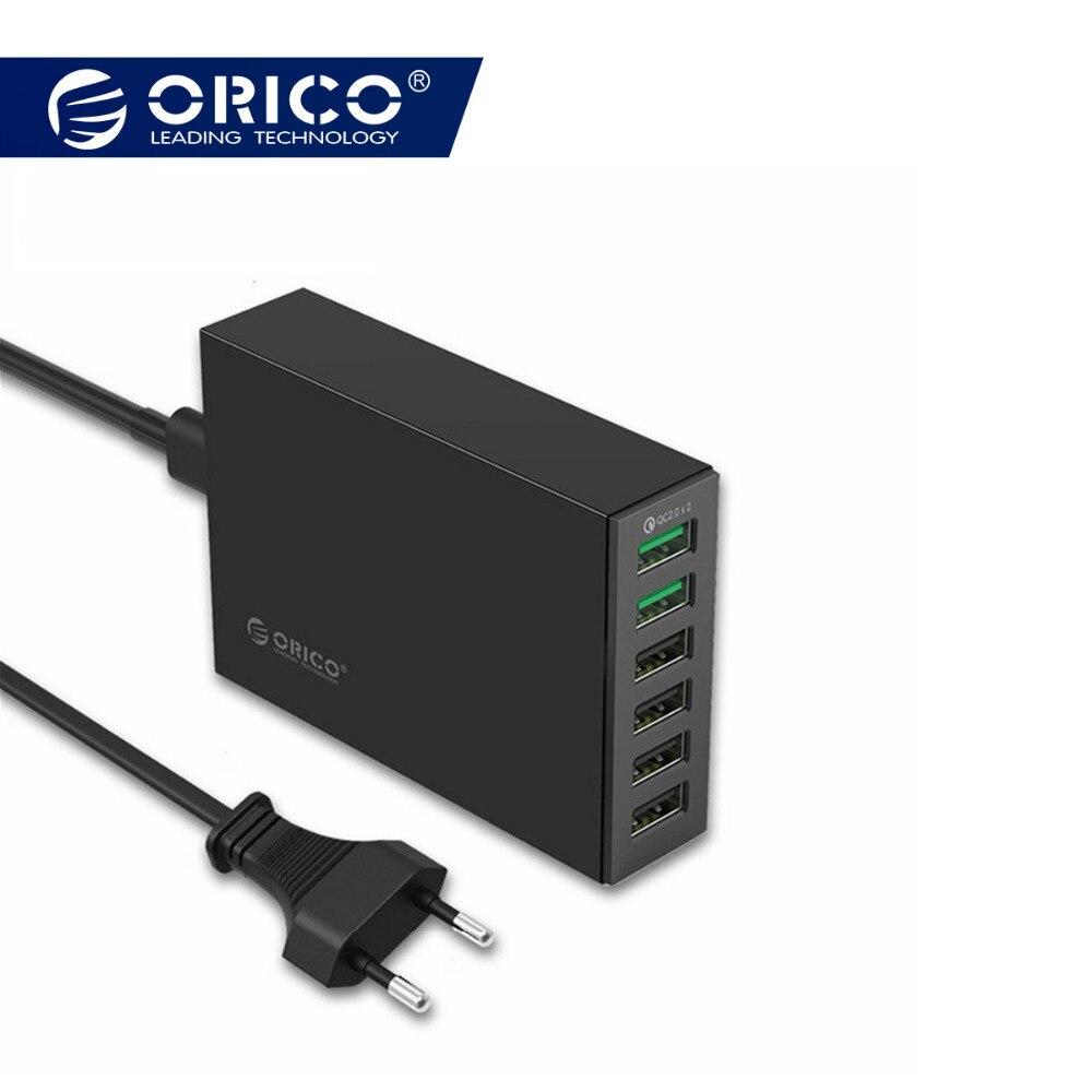 ORICO QSL-6U 6 puertos QC2.0 rápido cargador USB cargador para teléfono móvil para Samsung Huawei LG Iphone adaptador EU/US /UK/AU