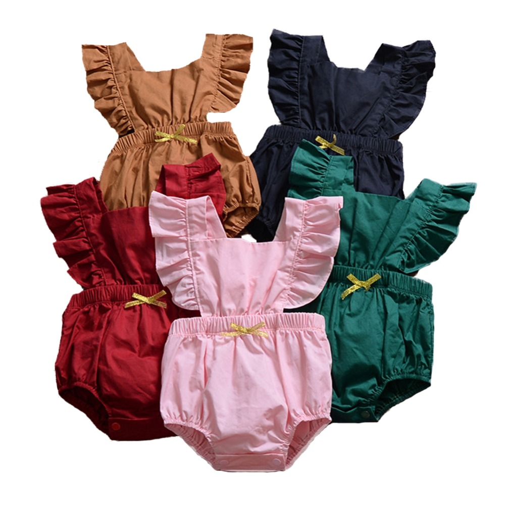 Summer Baby   Romper   for Girls Frill Sleeve Cotton Newborn Infant   Rompers   Fashion Baby Girls Clothing