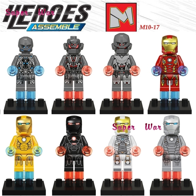 Single Sale superhero marvel avengers Iron Man Mark I Iron Patriot Ultron building blocks  model bricks toys for children