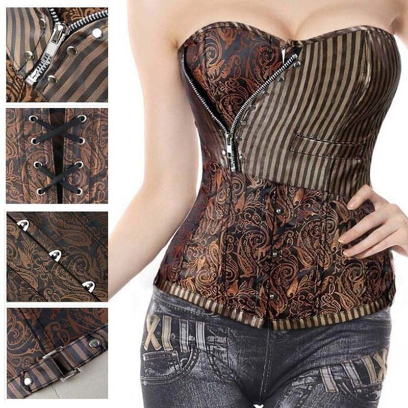 Miss Moly Brown Sexy Corsets and bustiers Steampunk Corset Top Waist Tummyr Gothic Clothing Corselet Brocade Zip Patchwork S-2XL
