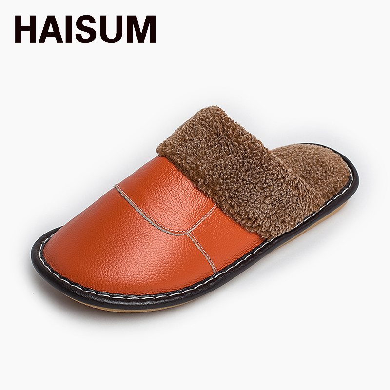 2017 Warm cotton slippers winter men and women home leather slippers couple home floor non - slip thick cotton shoes tb001 fashion style winter cotton slippers shoes for men and women couple soft home house floor foam bottom warm slipper high quality