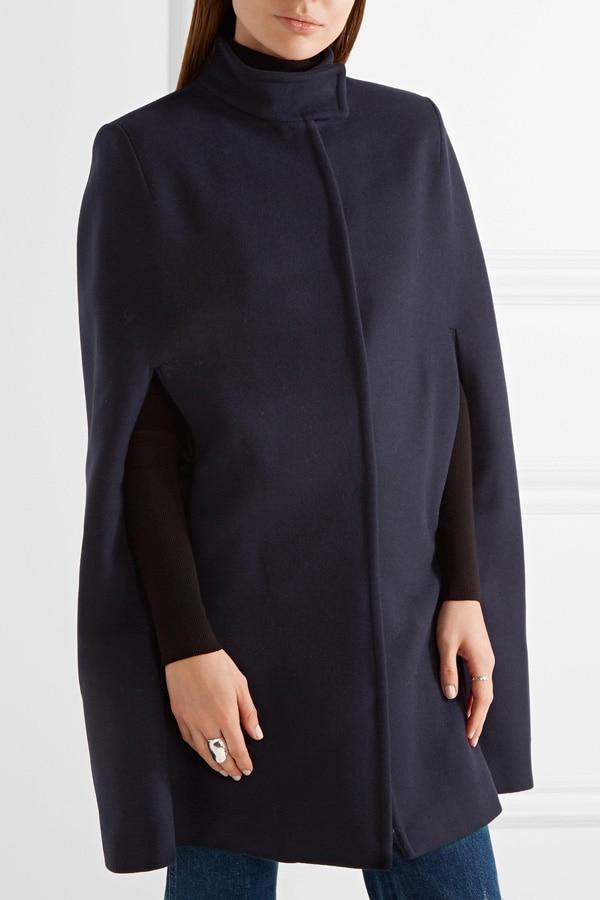 UK, весна, зима, женское, негабаритное, винтажное, v-образный вырез, шерсть, накидка, пальто с поясом, женский плащ, пончо, манто для женщин - Цвет: Navy
