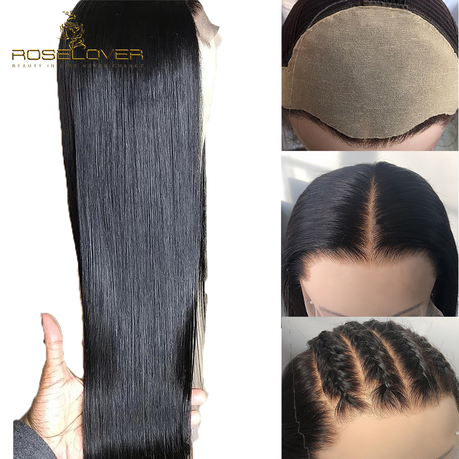 13x6 Silky Straight Fake Scalp Wig Deep Part Glueless Lace Front Human Hair Wigs With Baby
