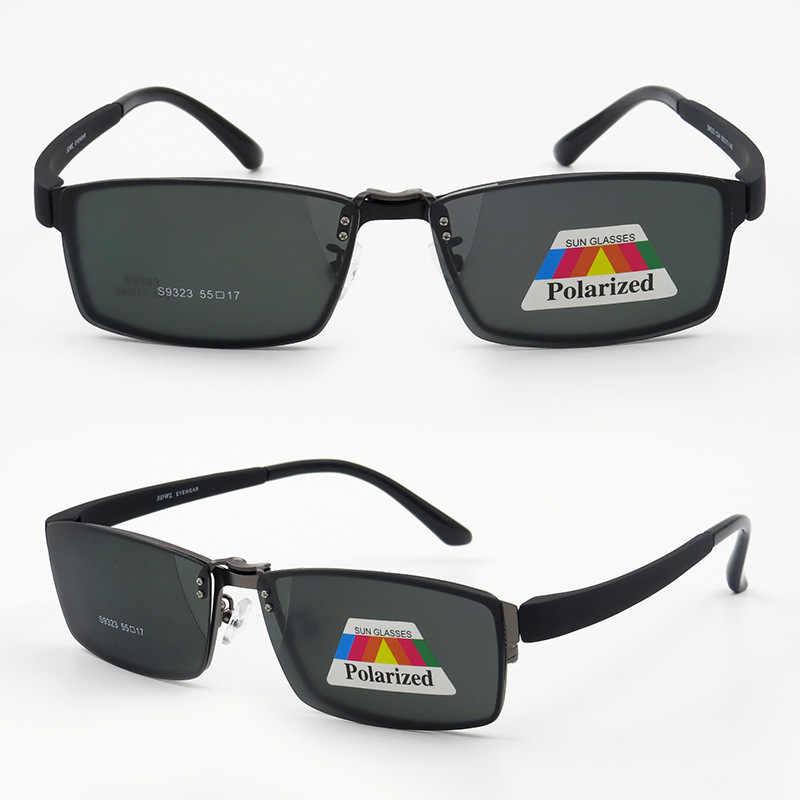 59c2532a46 Men Myopia Glasses Sunglasses Magnet Clip Optical Man Metal Eyeglasses  Frame Polarized Magnetic Clip On Spectacle