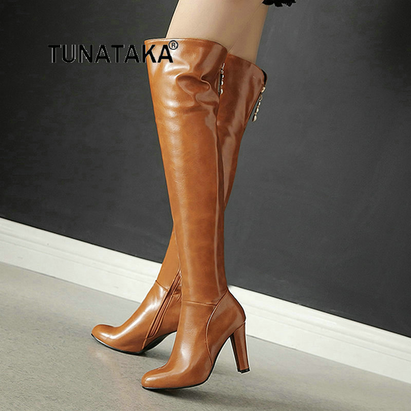 Women's Thick High Heel With Side Zipper Over The Knee Boots Fashion Round Toe Windbreaker Winter Shoes Red Black Yellow winter warm square high heel side zipper knee high boots fashion round toe shoes woman brown white black
