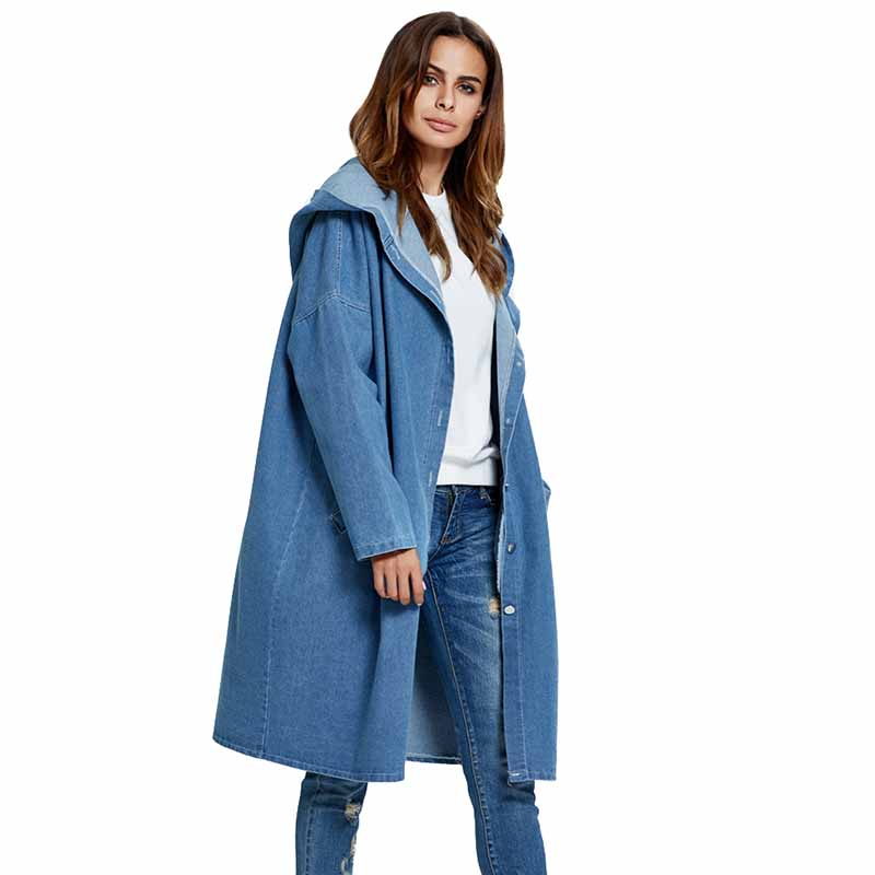 Large size Denim   Trench   Coat Women Spring Autumn Long sleeve Hooded Jeans Windbreaker Long Coat Female Basic Casual Outerwear
