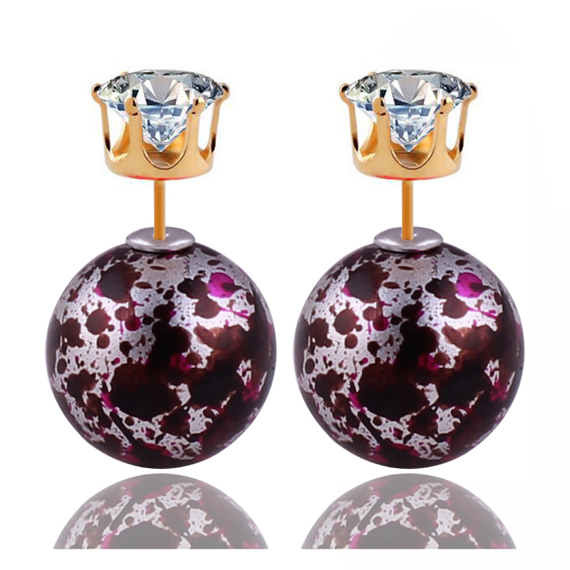 9 Colors New Fashion Shining Big Ball Gold Crown Crystal Double Pearl Earrings Bohemia Double Side
