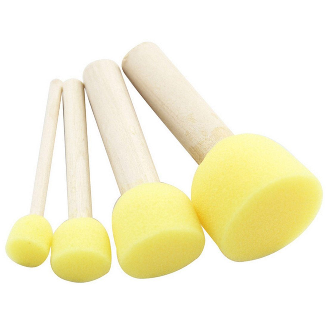 5Pcs-4pcs/Set Yellow Sponge Paint Brush Seal Sponge Brush Wooden Handle Childrens Painti ...