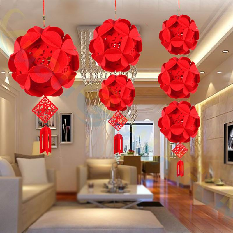 10PCS DIY Non woven Chinese New Year festival Hydrangea ...