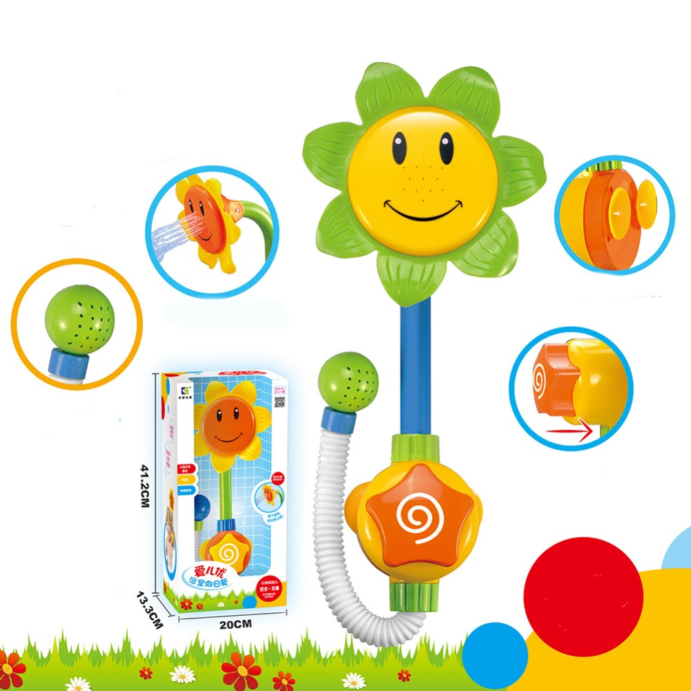 Baby Funny Water Game Bath Toy Sunflower Shower Faucet Baby Bath Spout Play Swimming Bathroom Toys Summer Bathing Random Color image