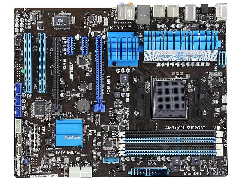 ASUS M5A97 EVO prend en charge AM3 + bulldozer CPU SATA6GB avant USB3ASUS M5A97 EVO prend en charge AM3 + bulldozer CPU SATA6GB avant USB3