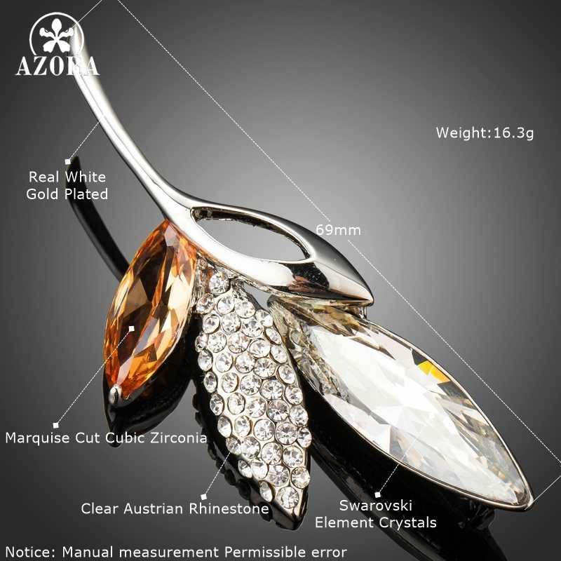 Azora Shinning Besar Luxury CZ Daun Tanaman Bros dan Pin untuk Wanita Fashion Perhiasan Kristal Austria Perjamuan Bros TP0053