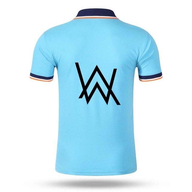 Новый дизайн W печать мужчины с коротким рукавом polo рубашка Алан Уокер camisa polo рубашки трикотажные дышащий повседневная рубашка отложным воротником