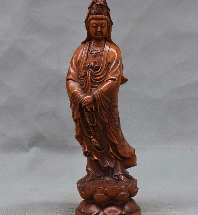 China Buddhist Boxwood Hand Carved GuanYin Kwan-yin Bodhisattva Hold Bead StatueChina Buddhist Boxwood Hand Carved GuanYin Kwan-yin Bodhisattva Hold Bead Statue