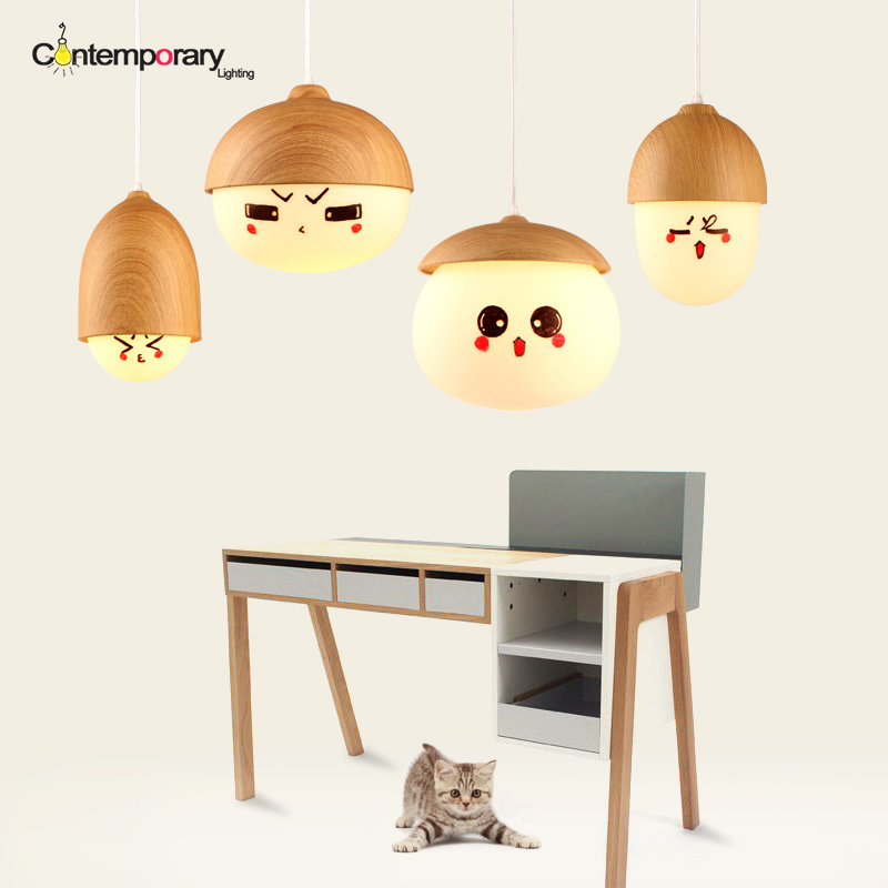 White Creative Nuts Pendant Lamp Imitation Wood Pendant Lamp Home Decorative Pendant Light For Bar