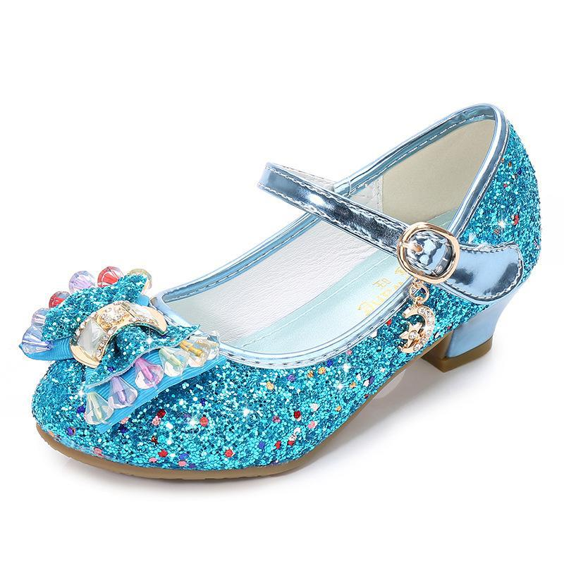 Image 2 - Children Princess Shoes for Girls Party High Heel Sandals Fashion Flower Kids Glitter Leather Shoes Butterfly Knot Dress Wedding-in Leather Shoes from Mother & Kids