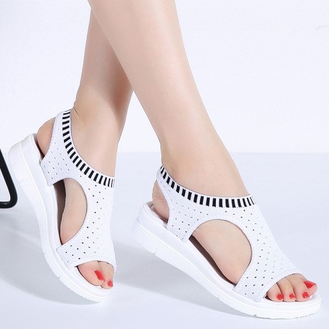 WDZKN 2019 Sandals Women Summer Shoes Peep Toe Casual Flat Sandals Ladies Breathable Air Mesh Women Platform Sandals Sandalias Karachi