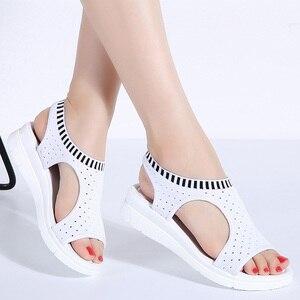 Image 3 - WDZKN sandales dété à mailles dair pour femmes, chaussures dété à bout ouvert, sandales respirantes, plateforme, collection 2020