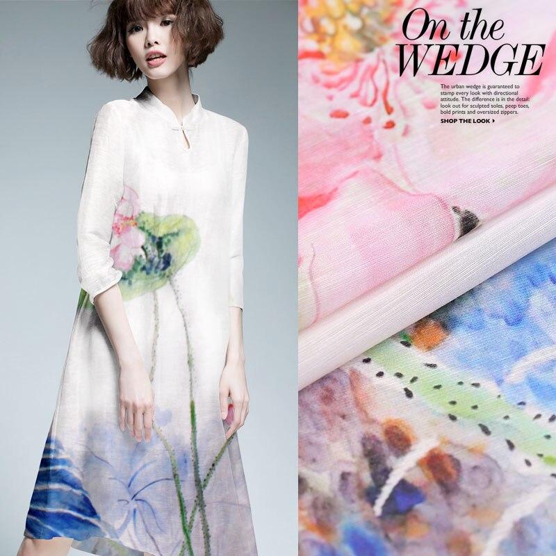 e2b9ba02d71 New Silk Linen Fabric Lotus Flower Painting Silk Special Offer Dress  Material