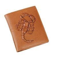 Moda Masculina Carteiras Pattern Scorpions Qualidade 100% Genuíno Carteira De Couro Marrom Estilo Hop Cruz Vertical Bolsa Titular Do Cartão