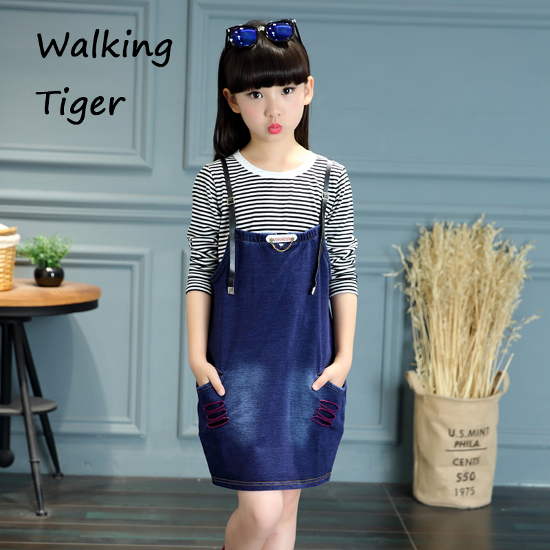Girls T-shirt tops + denim dress, fashion clothing sets suspender dress striation blouse fall 2017 new child clothes suit