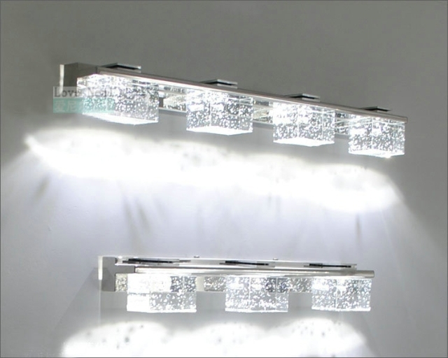premium selection c9bd3 3e9e2 US $106.39  Modern brief k9 crystal LEDmirror light bubble crystal  stainless steel bathroom mirror glass lighting High end bubbles Wall lamp  di LED ...