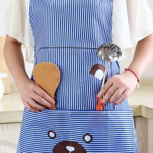 Cute Bear Pattern Aprons Adjustable Kitchen Apron Striped Restaurant Cooking Baking With Pockets Accessories