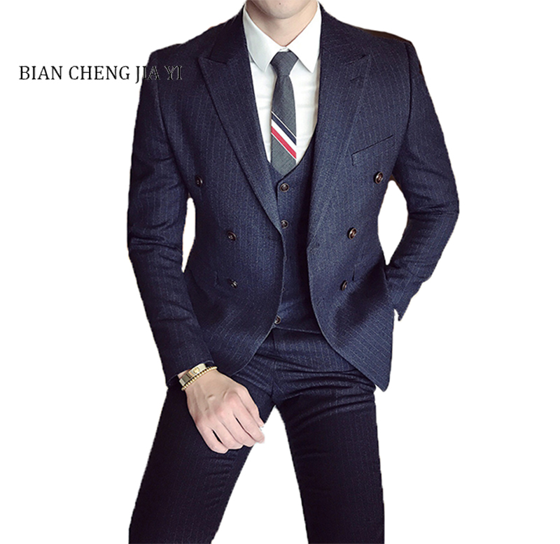Hot selling Slim Fit Men Double breasted Suits Men Wedding Groom Prom suits Light striped Peak Lapel  3 Pieces Blazer Pants Sets