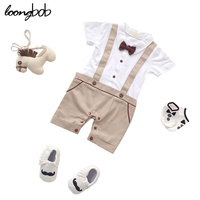 Baby Boys Summer Style Simple Romper Infant Boys Khaki And Blue Printing Clothes Children Gentleman With