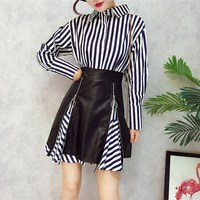 Newest 2017 2 Piece Set Fashion Fall Women Stripe Long Blouse Top And Zipper PU Skirt