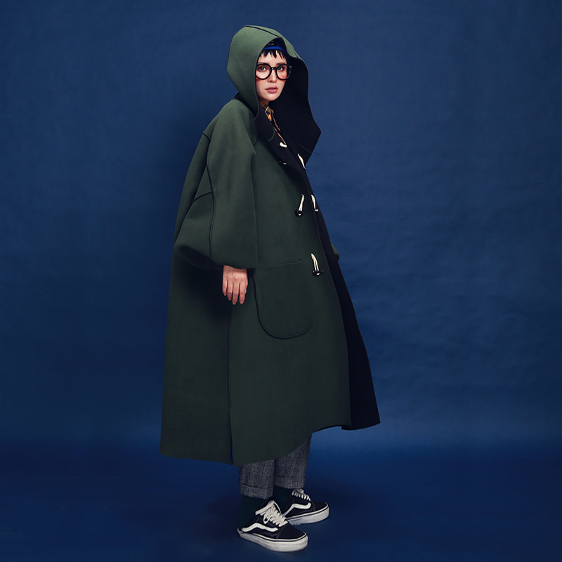 Original New Arrival Autumn and Winter 2017 reversible polar fleece horn button casual hooded oversize long   trench   coat women