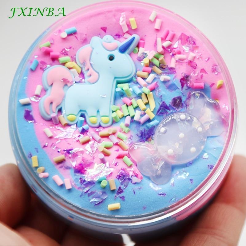 FXINBA Pink Blue Slime Fluffy Unicorn Charms Floam Kids Modeling Polymer Clay Toys Safe Cotton Slime Box Anti Stress Plasticine