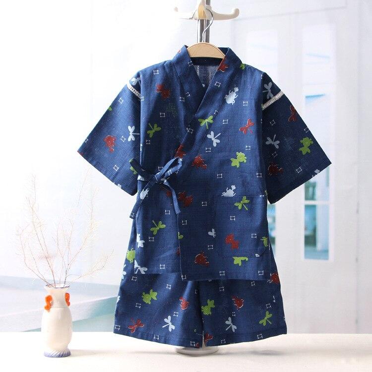 Boys Girls Cotton Household Sleepwear Children's Short Sleeve Pajamas Suit Baby Summer Pyjamas Set Kids Kimono Underwear Pijamas