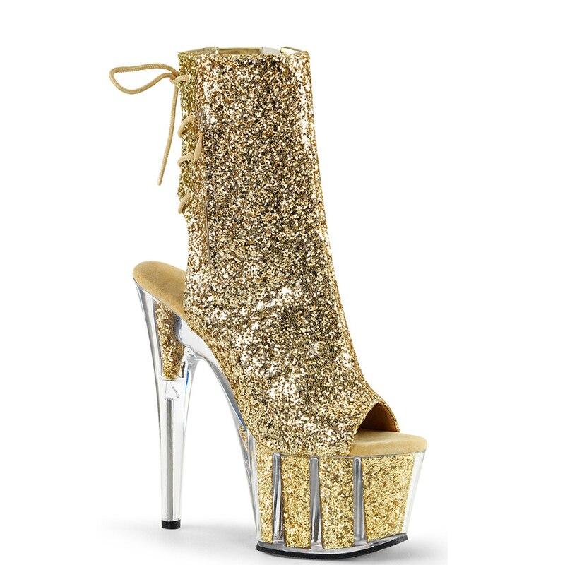 Femmes Cheville Bottes Glitter 15 cm Haute Talons Platform Stripper Chaussures Transparent Talons Zip Lacent Bottes Dames Chaussures Plus taille 43